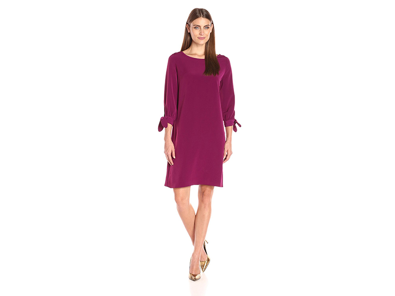Donna Ricco Long-Sleeve Solid Soho Crepe Sheath Dress