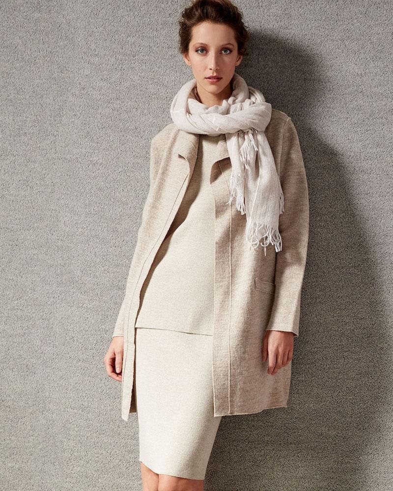 Eileen Fisher Boiled Wool Funnel-Neck Coat