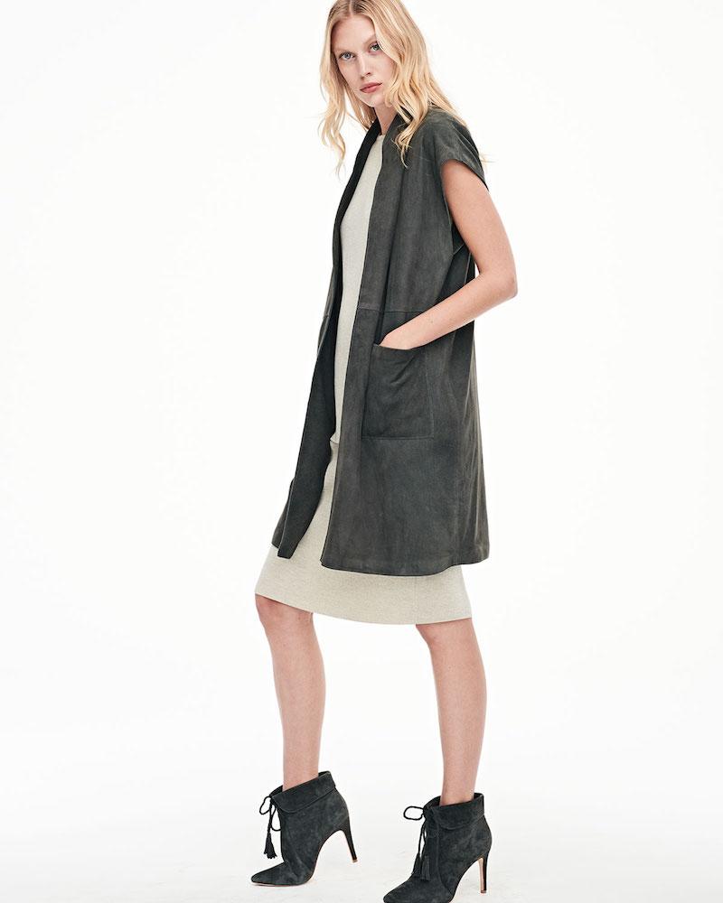 Eileen Fisher Cap-Sleeve Suede Vest