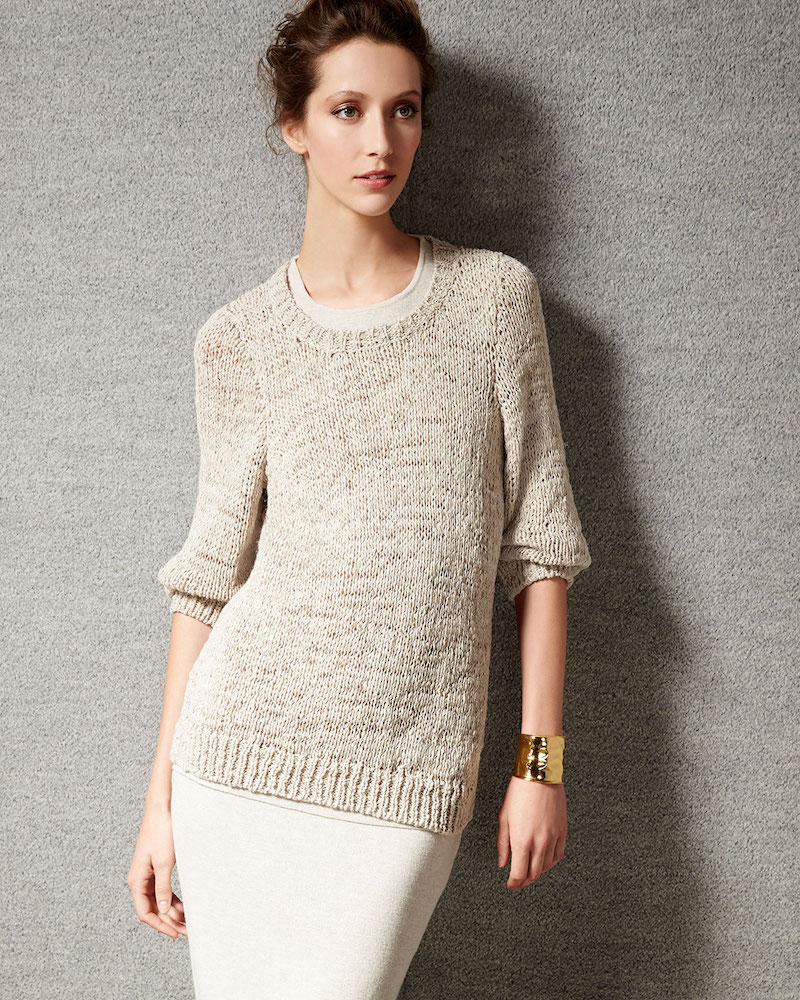 Eileen Fisher Rustic Twisted-Tape Bateau-Neck Sweater