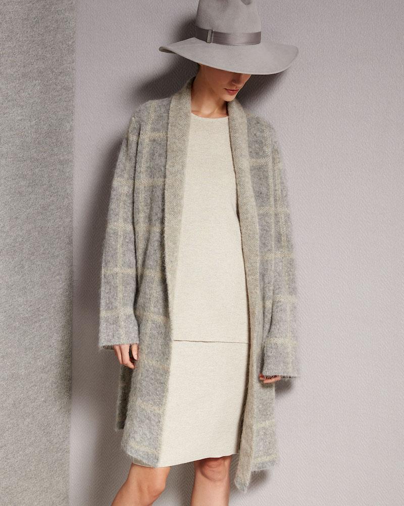 Eileen Fisher Windowpane-Check Shawl-Collar Coat