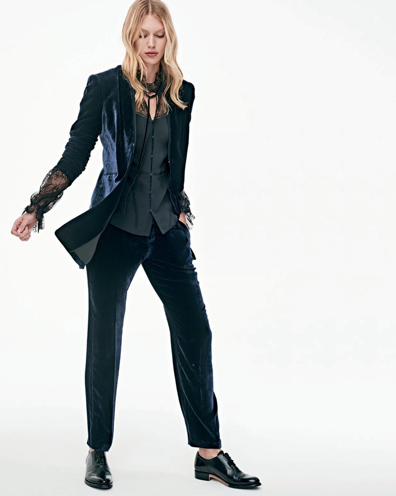 Elie Tahari Antoinette Long High-Sheen Blazer Jacket