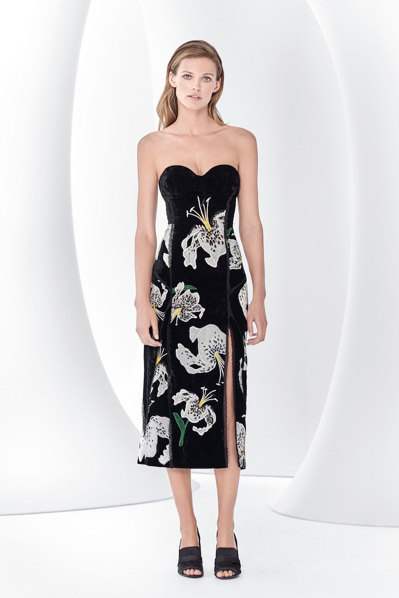Erdem Rebecca Embroidered Velvet Strapless Dress