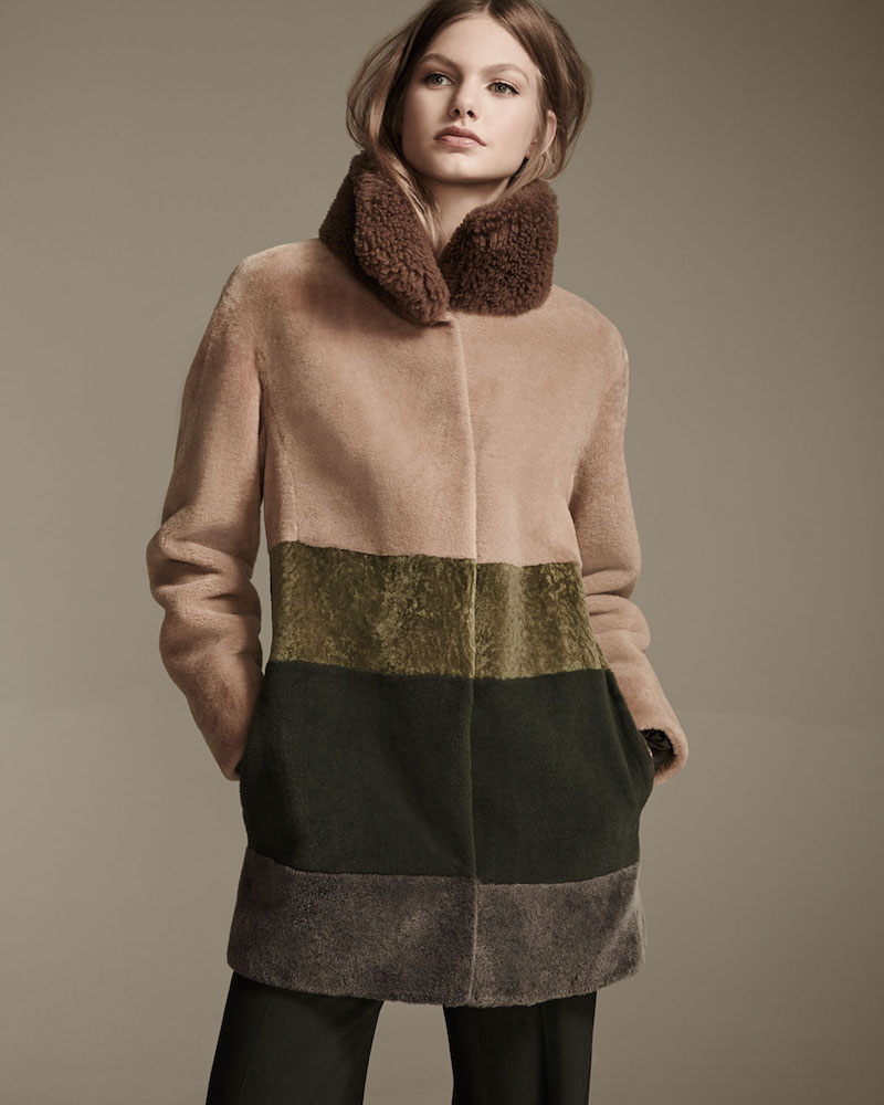 Escada Colorblock Shearling Coat