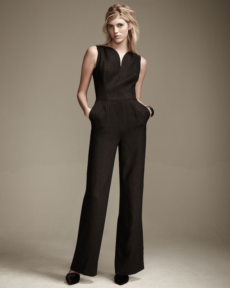Escada Eve Sleeveless Deep-V Jumpsuit