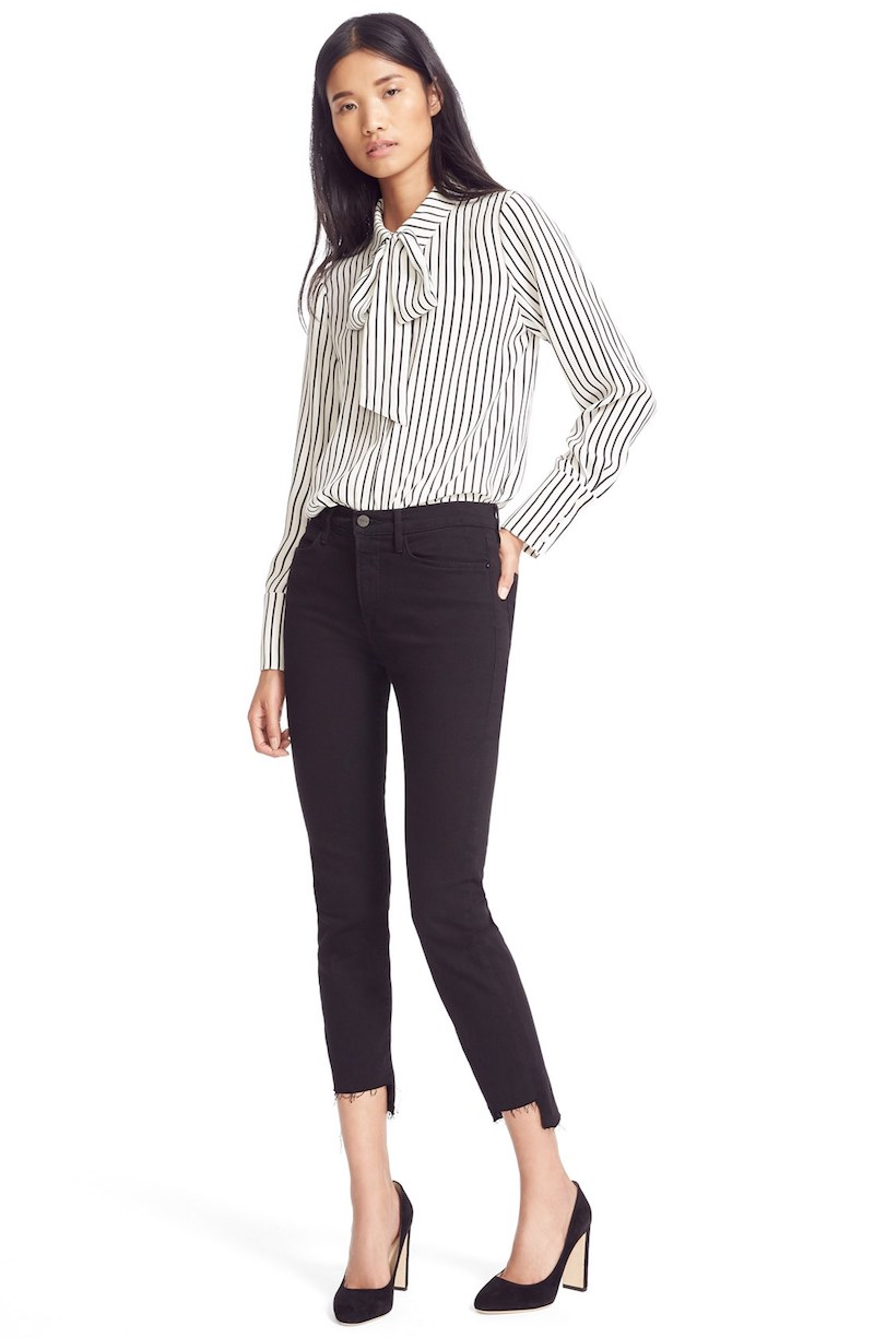 FRAME Le High Straight High Rise Staggered Hem Jeans