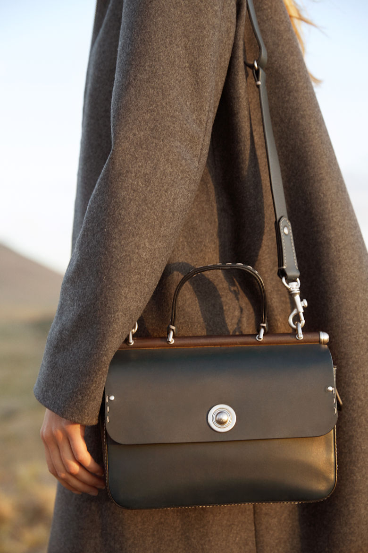 Ghurka Tilbury Leather Satchel Bag in Black