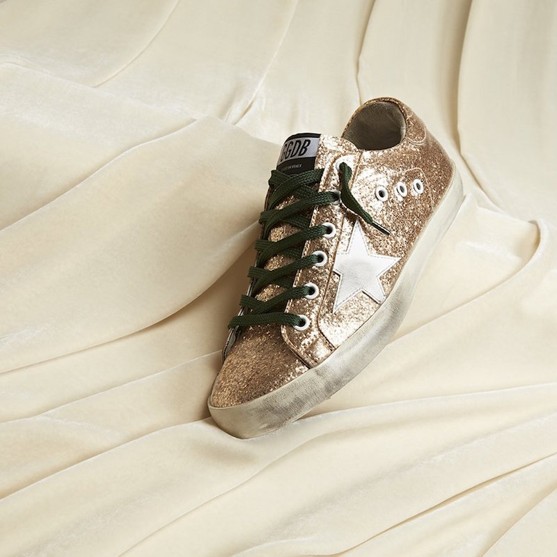 Golden Goose Super Star Gold Glitter Sneakers