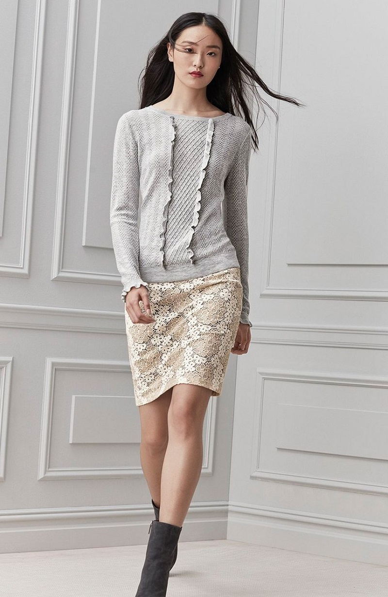 Halogen Ruffle Front Sweater