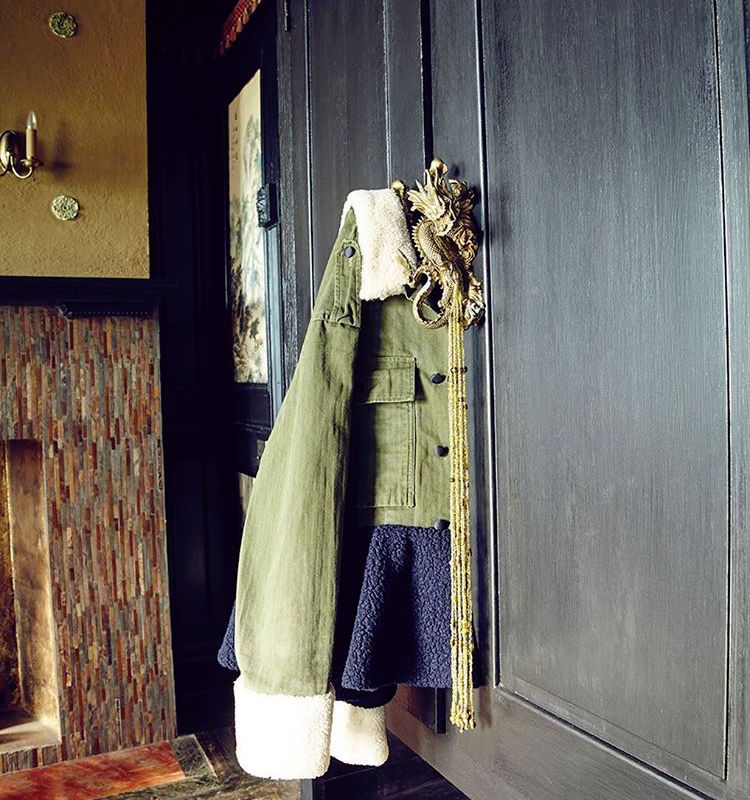 Harvey Faircloth Shearling Peplum Army Jacket