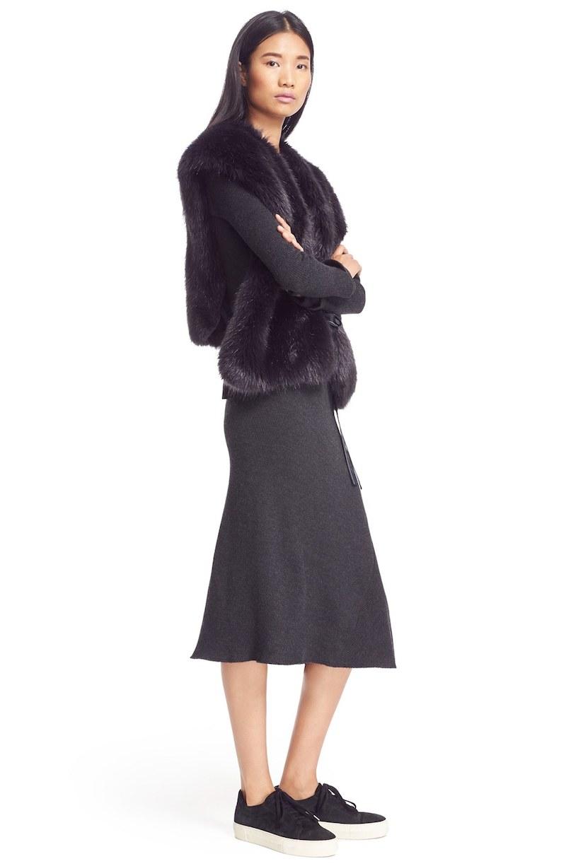 Helmut Lang Faux Fur Wrap Tie Vest