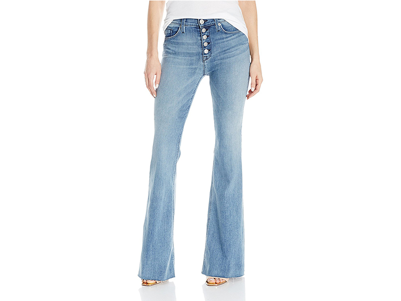 Hudson Jodi High-Waist Button-Front Raw-Hem Five-Pocket Flare Jean