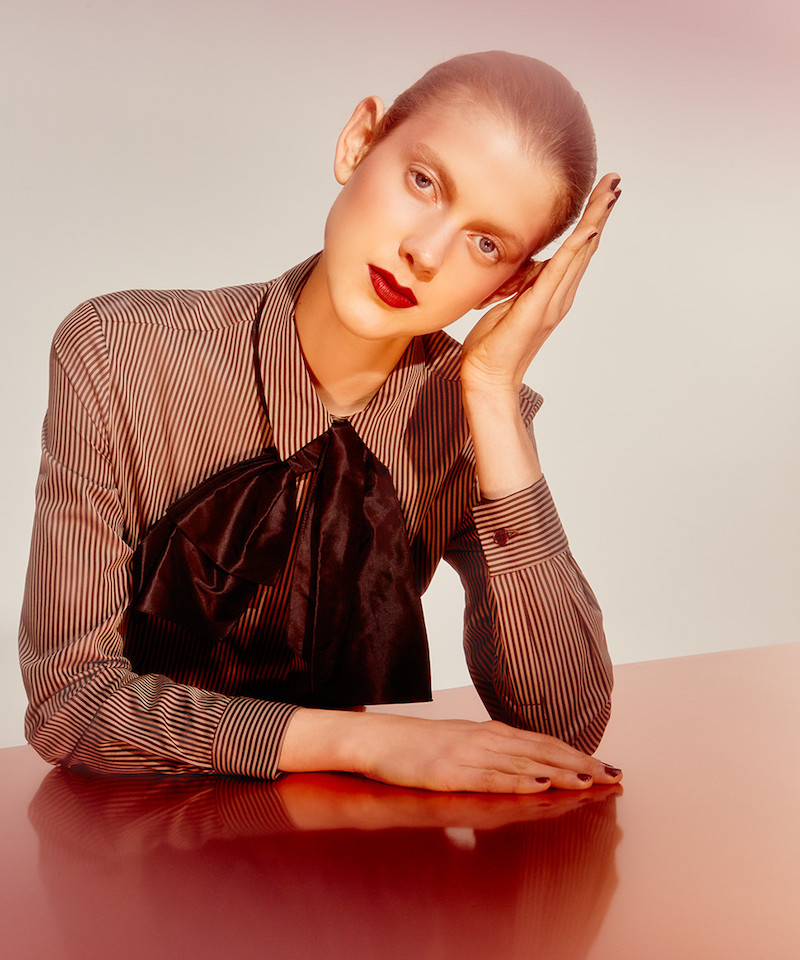 Isa Arfen Classic Stripe Cotton & Silk Blouse with Taffeta Bow
