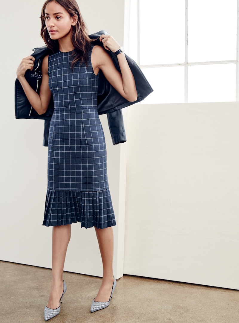 J.Crew Pleated Windowpane Dress