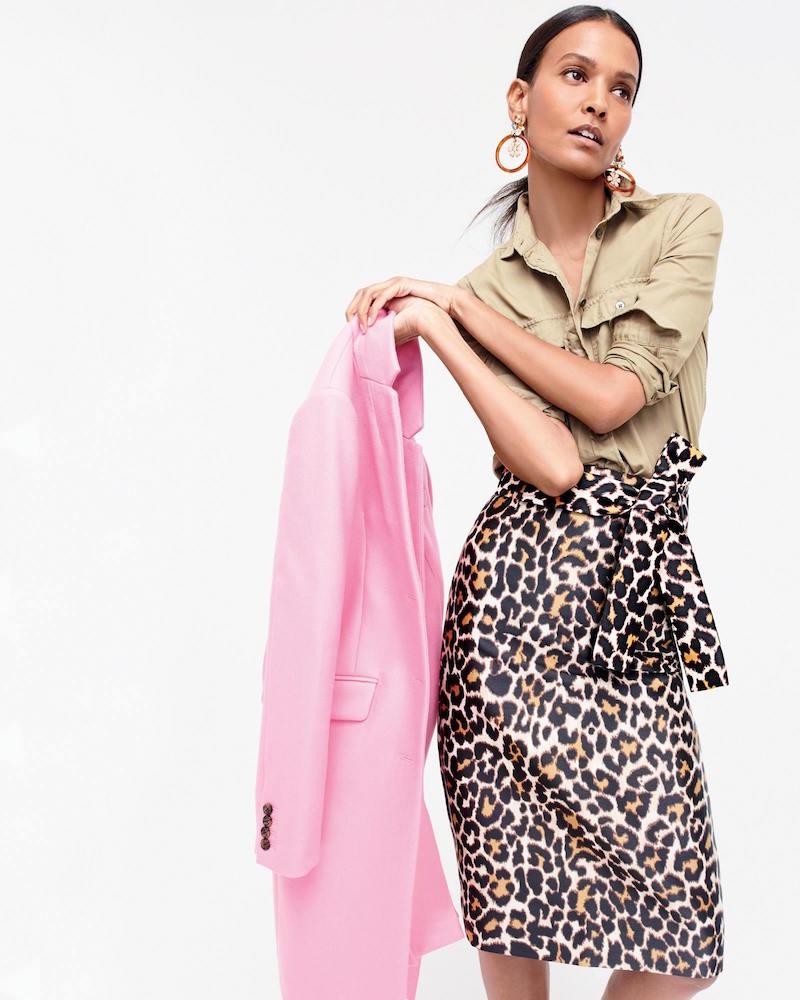 J.Crew Tie Waist Skirt In Leopard Print