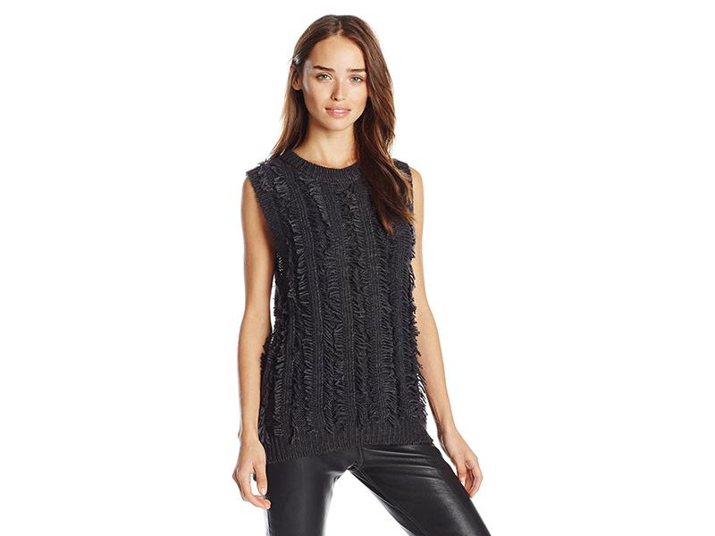 J.O.A. Sleeveless Frayed Sweater Top