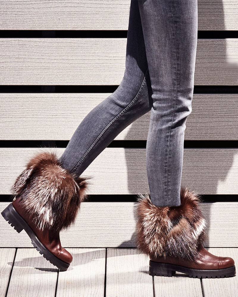 JIMMY CHOO Dana Flat Dark Brown Leather Boots with Fox Fur