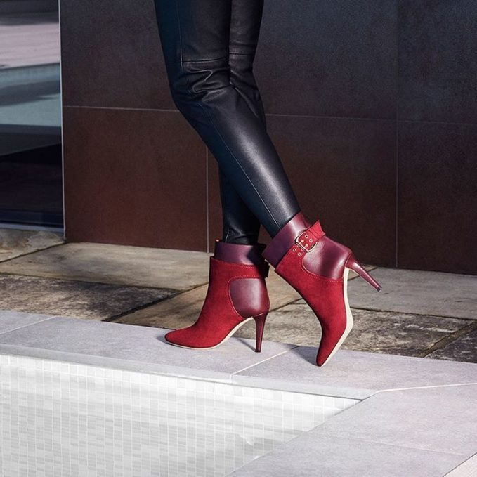 JIMMY CHOO Major 85 Bordeaux Suede and Calf Ankle Boots