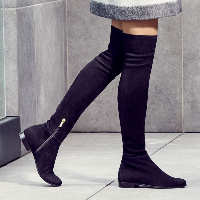 JIMMY CHOO Myren Flat Black Stretch Suede and Suede Over the Knee Boots