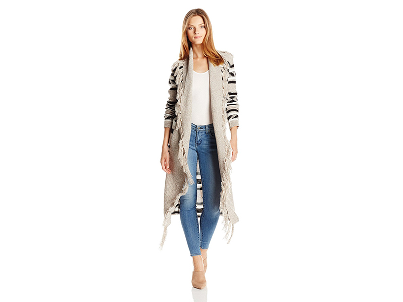 Jack by BB Dakota Rubeus Diagonal Stripe Sweater Cardigan with Fringe