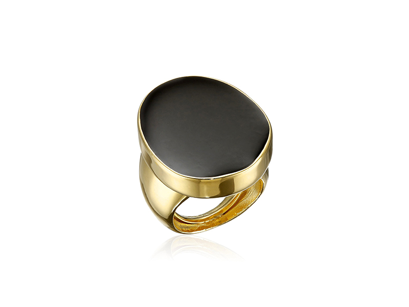 Kenneth Jay Lane Polished Gold and Black Enamel Adjustable Ring