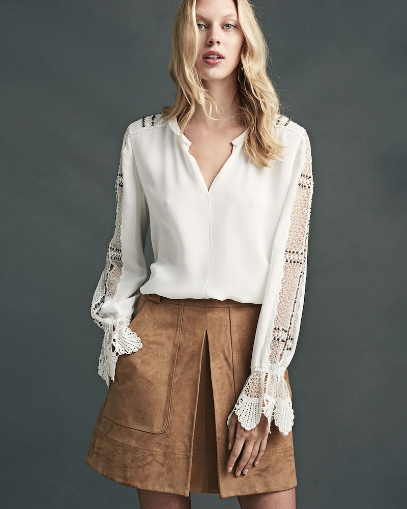 Kobi Halperin Carmella Beaded Lace-Trimmed Silk Blouse