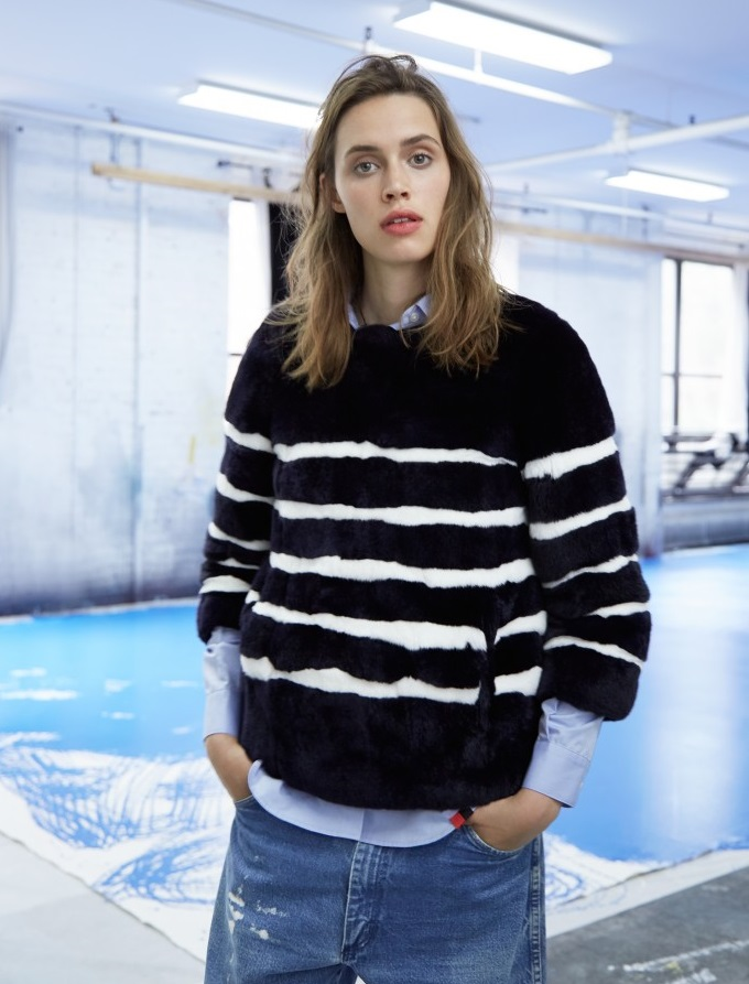 Kule Striped Rabbit Fur Jacket