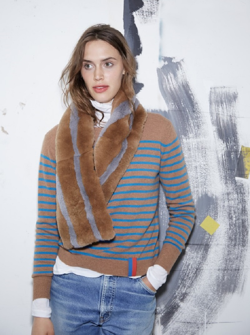 Kule The Louis Colorblocked Rabbit Fur Pull Through Scarf