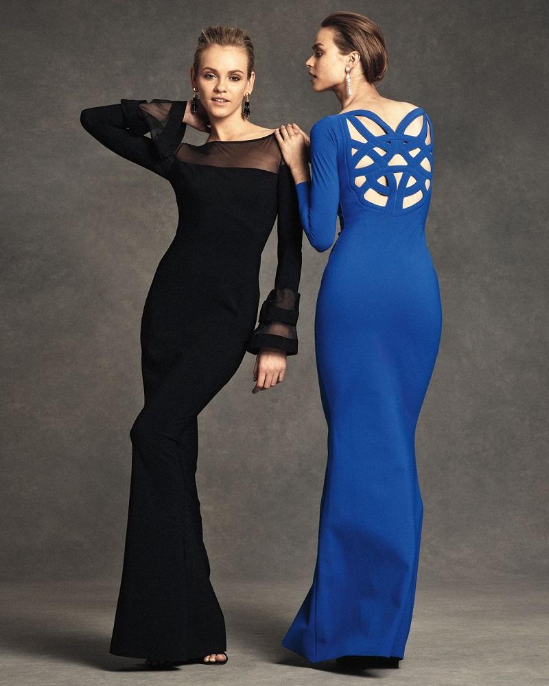 La Petite Robe di Chiara Boni Long-Sleeve Ponte Illusion Gown