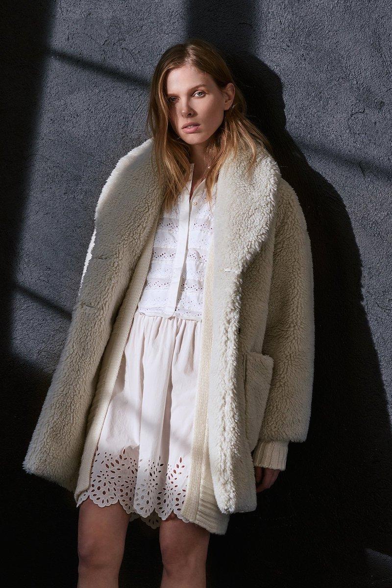 La Vie Rebecca Taylor Long Sleeve Poplin Lace Dress