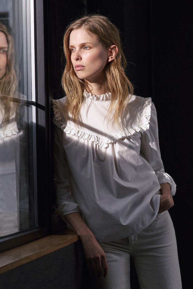 La Vie Rebecca Taylor Long Sleeve Poplin Ruffle Top