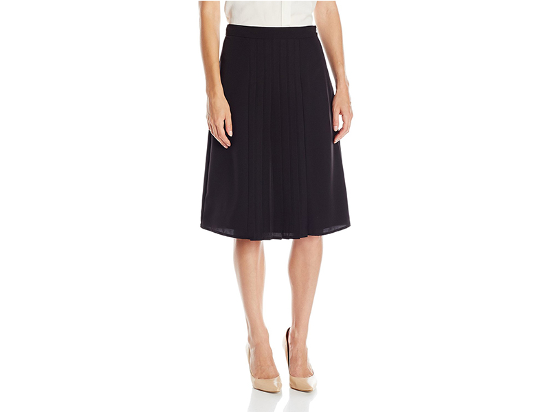 Lark & Ro Pleated Knee Length Skirt