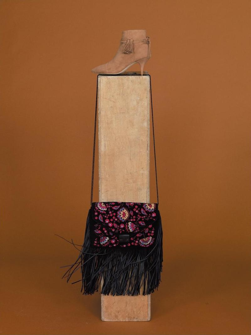 Loeffler Randall Embroidered Suede Fringe Lock Clutch