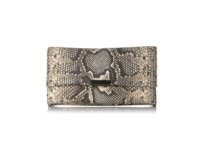 Loeffler Randall Tab Python Embossed Leather Clutch