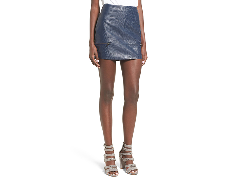 Lovers + Friends Good to Be Bad Embossed Faux Leather Miniskirt