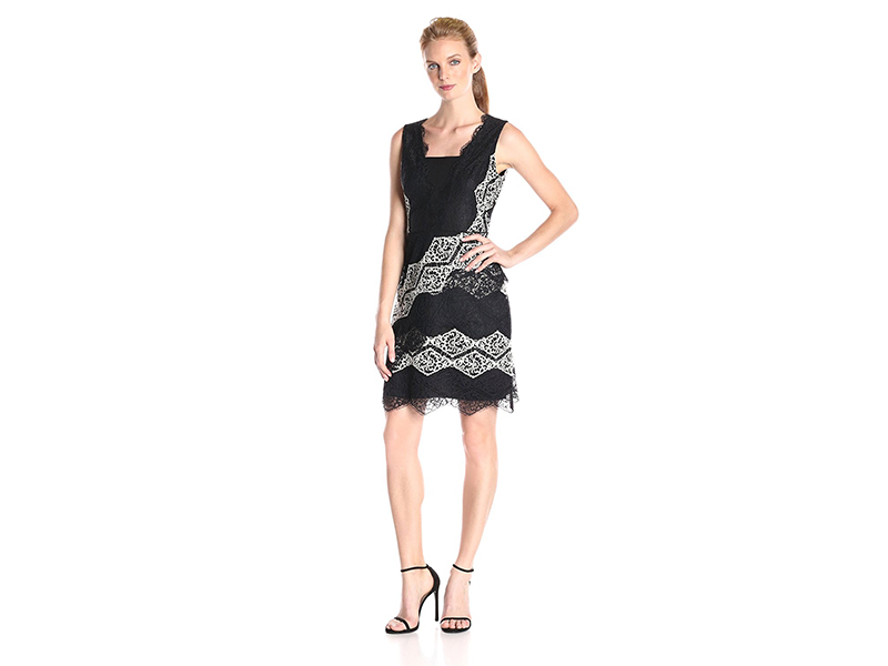 Maggy London Diamond Stripe Lace Fit and Flare