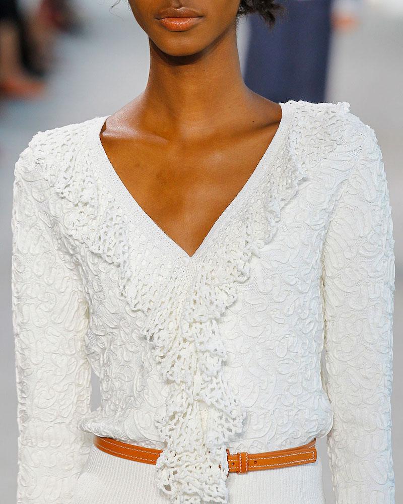Michael Kors Crochet-Trim Soutache-Embroidered Top