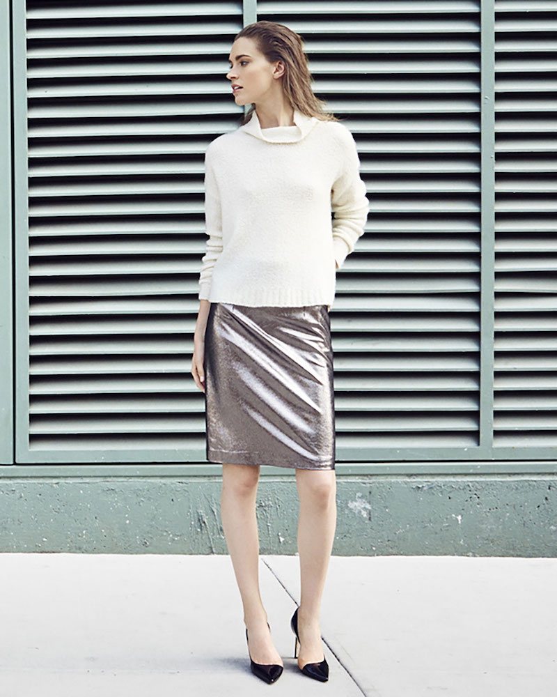 Milly Metallic Leather Pencil Skirt