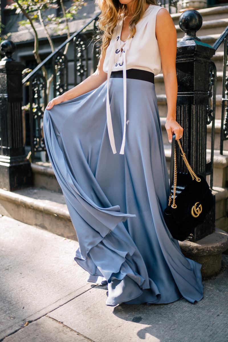 Milly Silk A-line Maxi Skirt