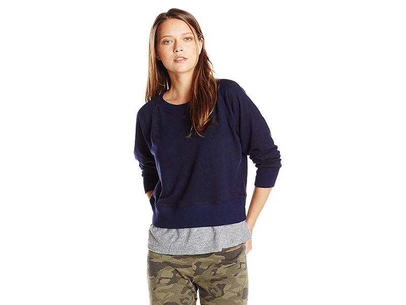 Monrow Heather Fleece Double Layer Raglan W Granite Tee