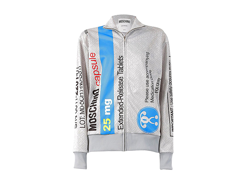 Moschino Pill Pack Printed Zip-Up Sweatshirt