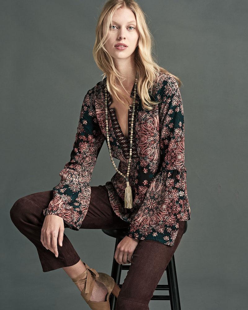 Nanette Lepore Paisley Silk Bell-Sleeve Top
