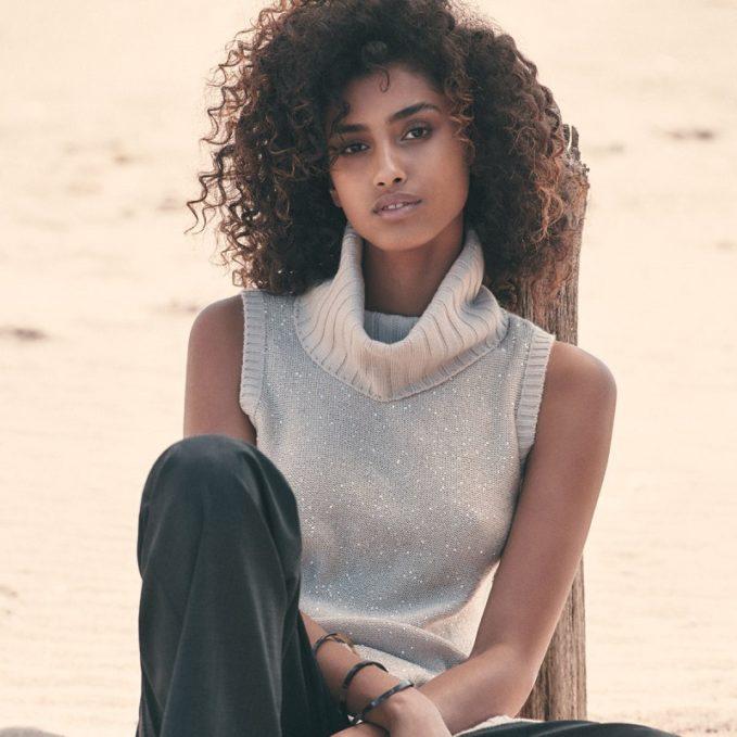Neiman Marcus Cashmere Collection Sleeveless Sequin Cashmere Turtleneck