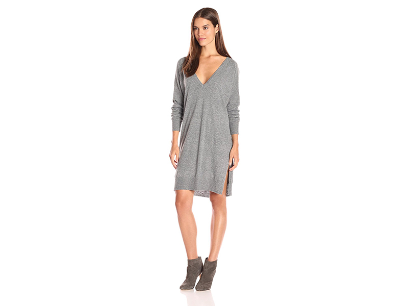 Noisy May Mena Long Sleeve Double Deep V Knit Dress