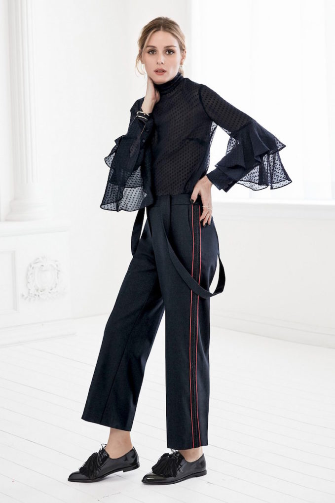 Olivia Palermo + Chelsea28 High Rise Crop Suspender Pants
