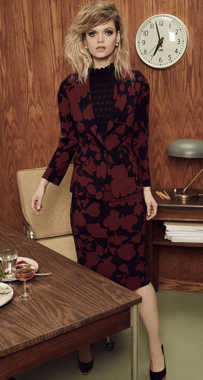 Oscar de la Renta Floral Wool Blazer