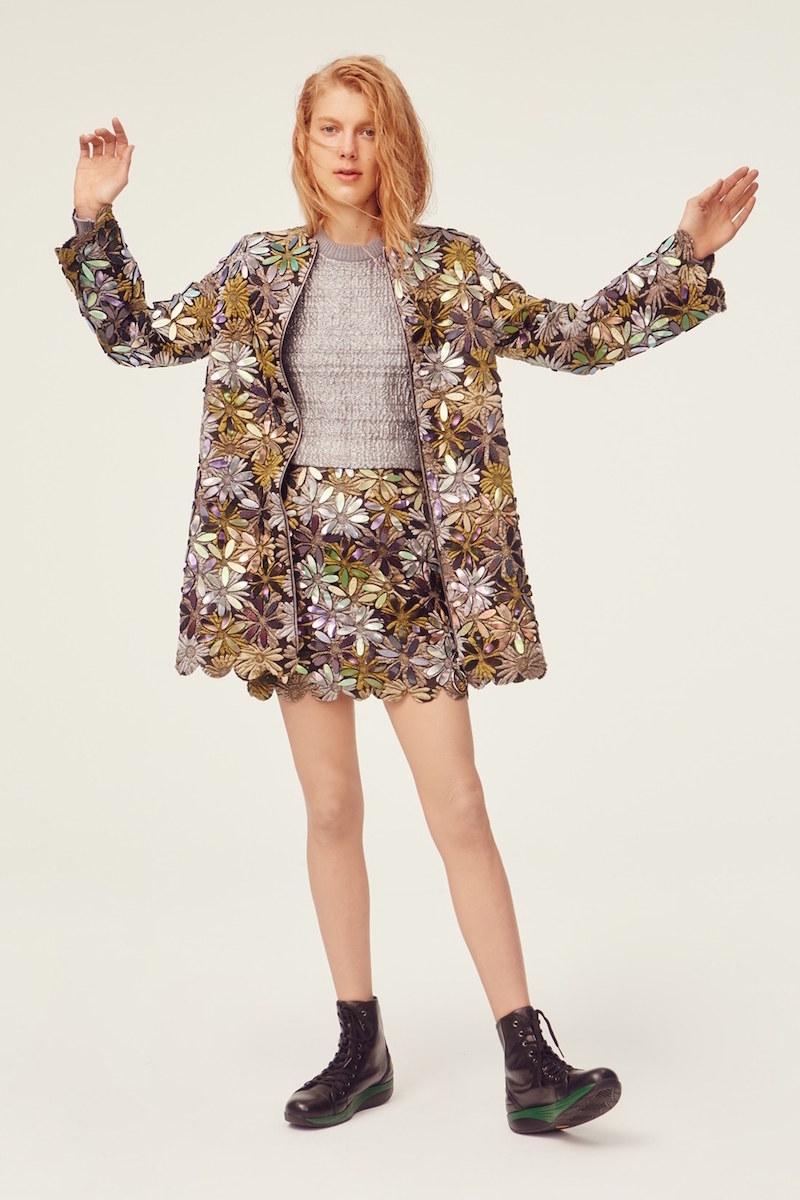 Phelan Technicolor Embellished Floral Print Miniskirt