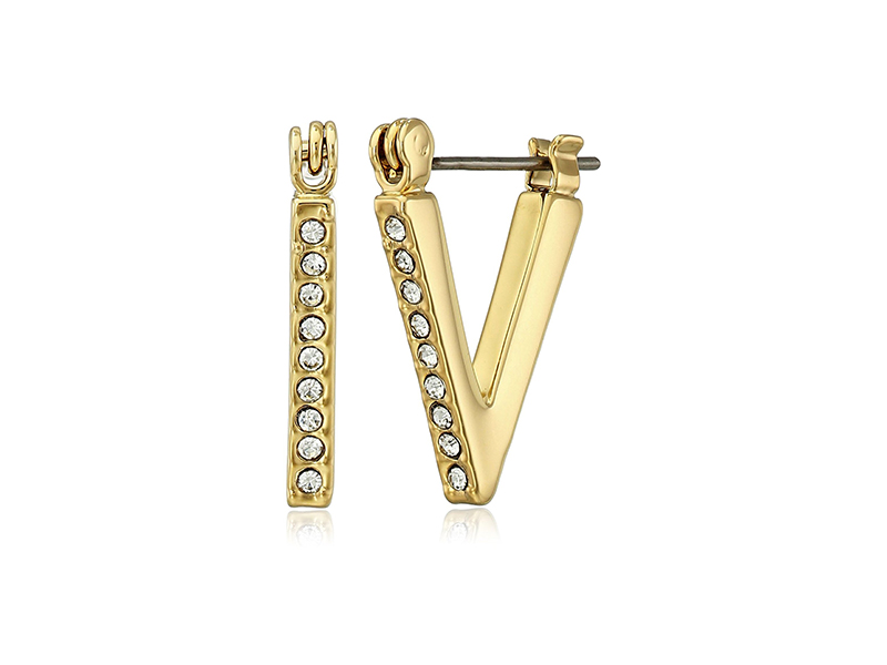 Rebecca Minkoff Stargazer Mini Pave V Hoop Earrings