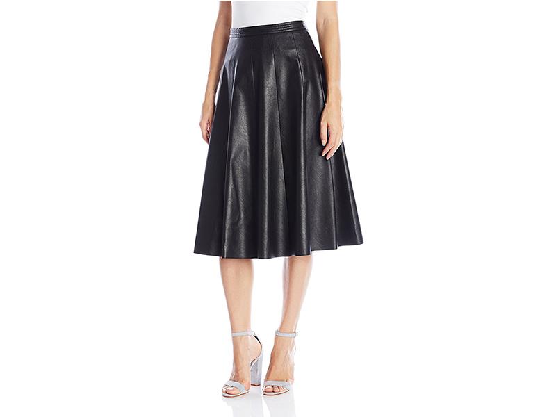 Rebecca Taylor Faux-Leather Midi Skirt