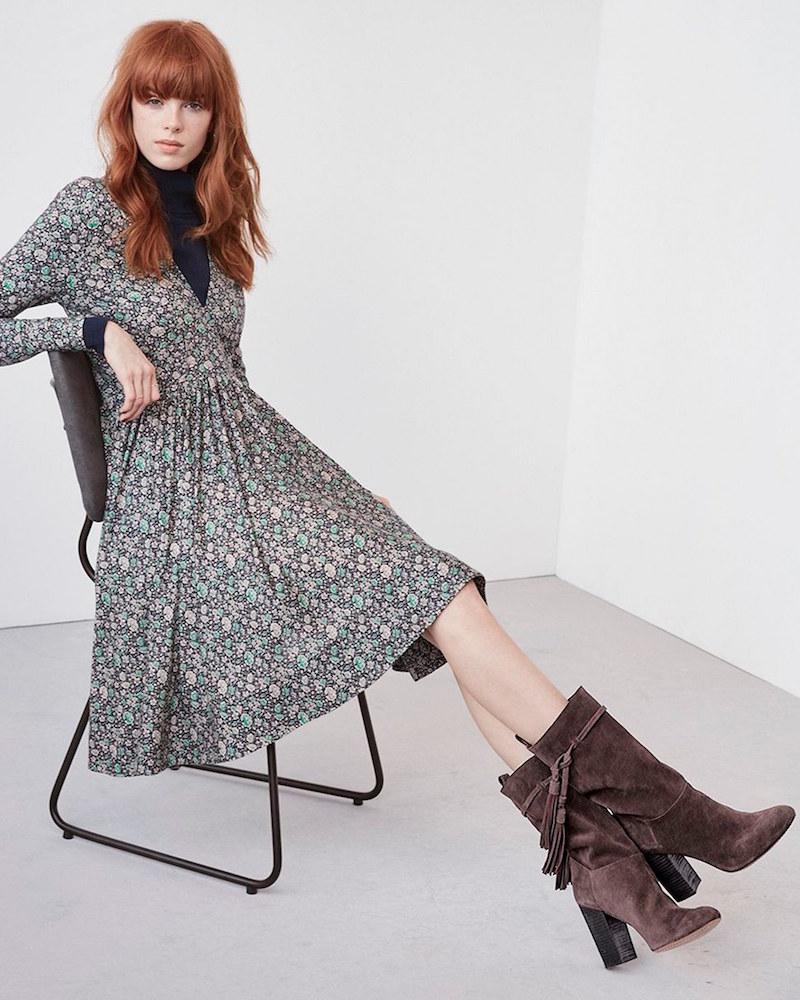 Rebecca Taylor Lavish Garden Long Sleeve V-Neck Fit & Flare Dress